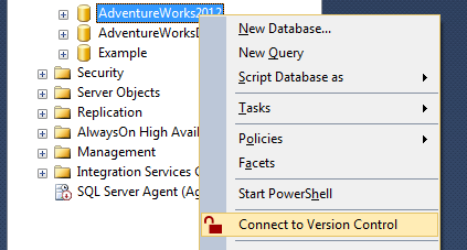 Database context menu with Connect to VCS item highlighted